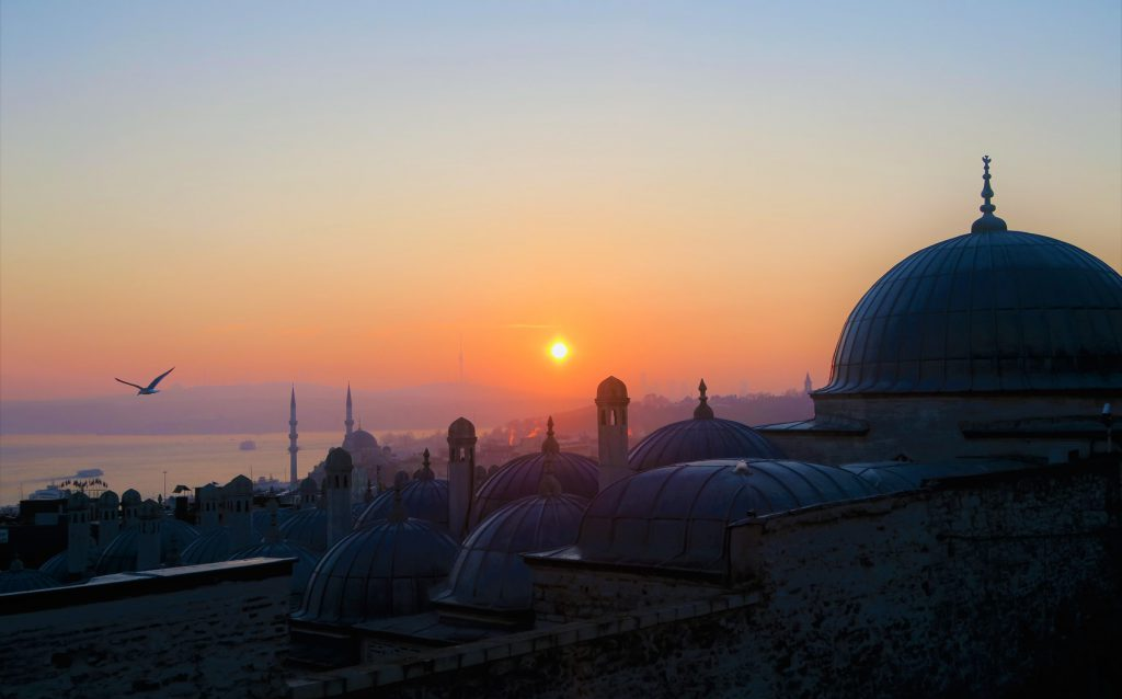 Mosques at sunset