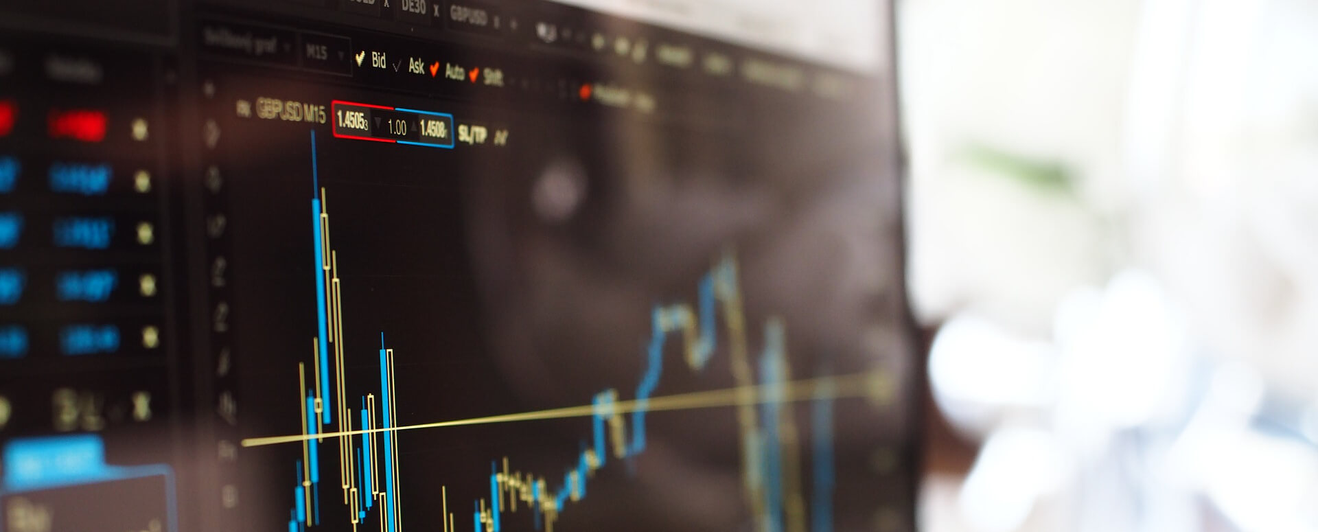 Stocks on computer screen