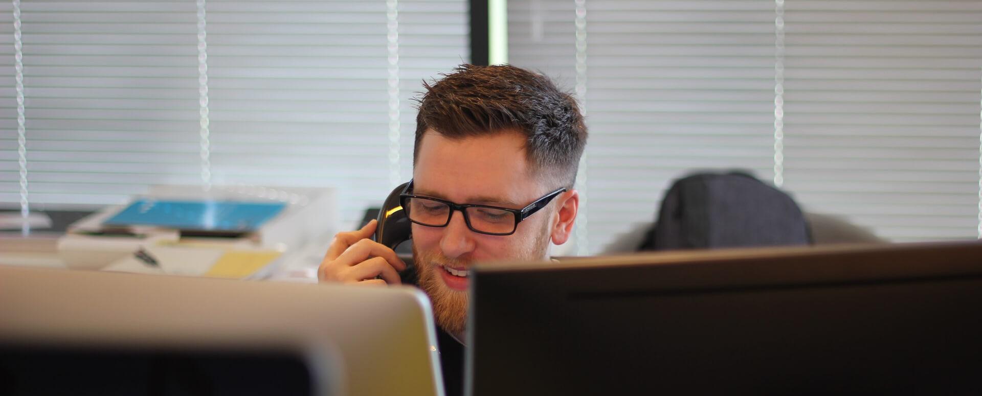 Man answering call